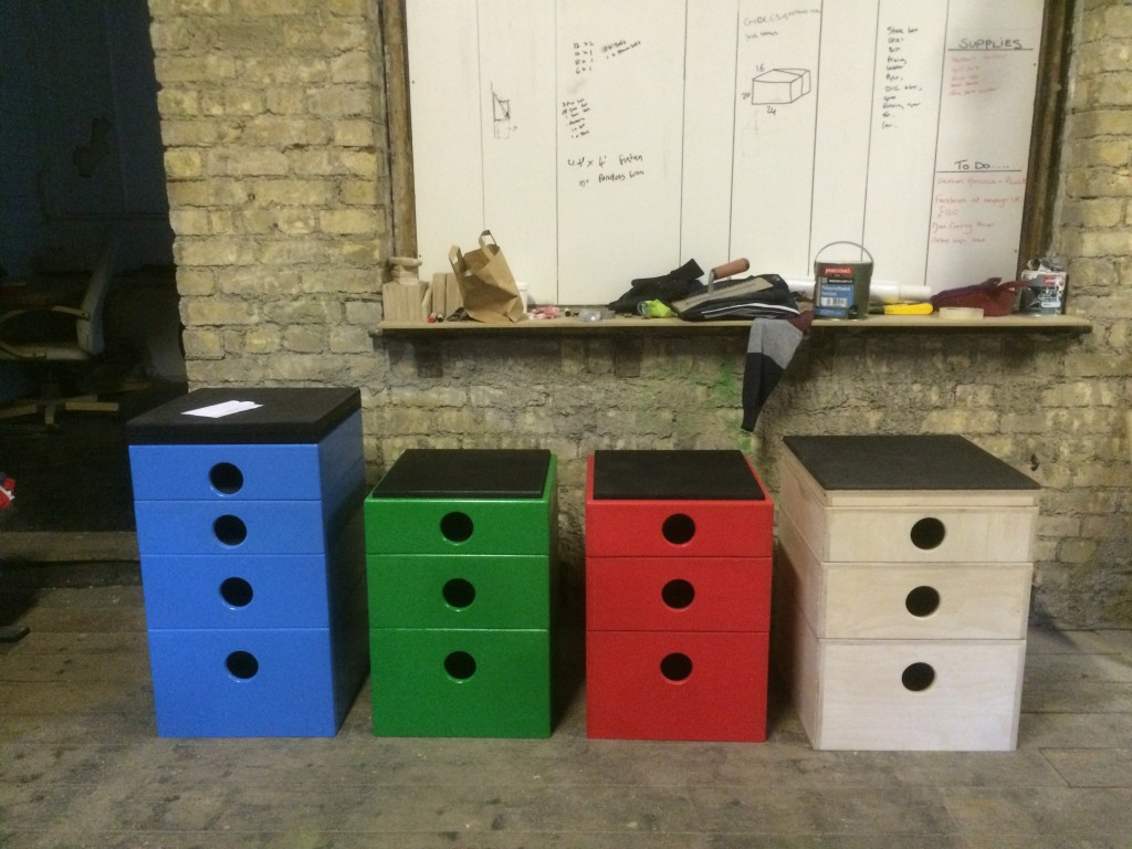 Plyo boxes coloured
